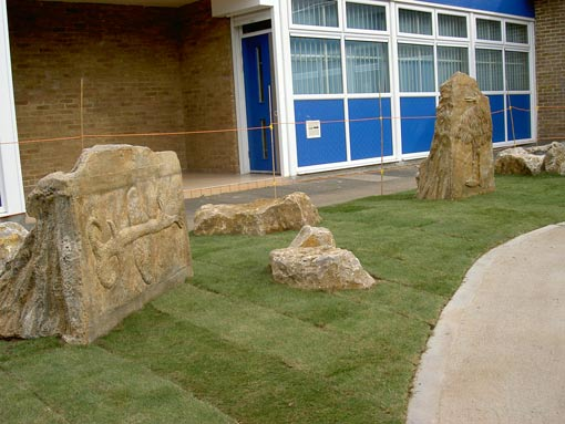 Mythical Beast Standing Stone Sculptures