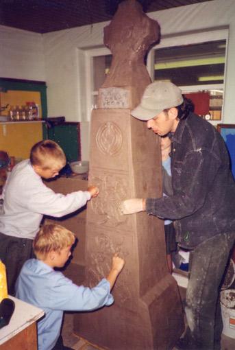 Carving Celtic Cross Sculpture